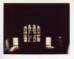 Dark Orche Court room with Stained glass window