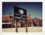 Winter shot of the Salve Regina Neport College sign outside of McAuley by Joseph Souza