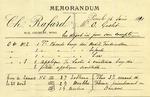 Memorandum from Ch. Rafard to Ogden Goelet