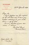 Letter from Fernand Robert, successeur to Ch. Rafard to Ogden Goelet