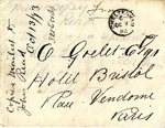Envelope addressed to O. Goelet Esq. Hotel Bristol