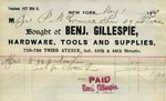 Receipt from Benj. Gillespie to P. McCormick