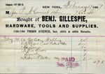 Receipt from Benj. Gillespie to P. McCormick and Receipt from Peter McCormick to Ogden Goelet