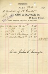 Receipt from John Le Sauvage to Estate of Robert Goelet