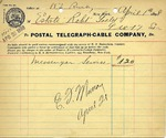 Receipt from Postal Telegraph-Cable Company to Estate Robt Goelet