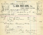 Receipt from Geo. Fox's Sons