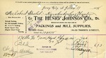 Receipt from The Henry Johnson Co.