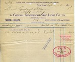 Receipt from General Incandescent Arc Light Co.