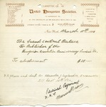 Receipt from Committee of the United Hungarian Societies