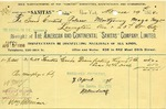 Receipt from The American and Continental 'Sanitas' Company, Limited