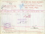 Receipt from City of New York-Finance Department to Firth