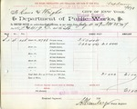 Receipt from Department of Water Supply to Kane and Wright
