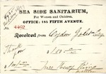 Receipt from Sea Side Sanitarium to Ogden Goelet
