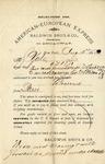 Letter from Baldwin Bros & Co. to Ogden Goelet