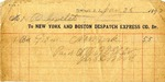 Receipt from New York and Boston Despatch Express Co. to Ogden Goelet by New York and Boston Despatch Express Co.