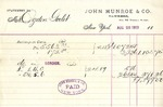 Receipt from John Munroe & Co. to Ogden Goelet