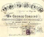 Invoice from George Cording to Mrs. Goelet