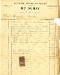Invoice from Madame Dumay to Madame Goelet