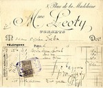 Invoice from Madame Leoty to Madame Ogden Goelet