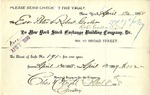 Receipt from New York Stock Exchange Building Company to Peter and Robert Goelet