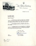 Letter from the Ritz-Carlton to Robert Goelet by Ritz-Carlton and E. W. Nicholls
