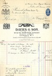 Receipt from Davies & Son to Robert Goelet by Davies & Son and H. Baker