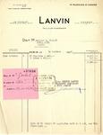 Receipt from Lanvin to Robert Goelet by Lanvin