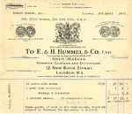 Invoice from E. & H. Hummel & Co. to Robert Goelet