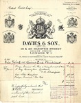 Invoice from Davies & Son to Robert Goelet