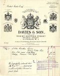 Invoice from Davies & Son to Robert Goelet by Davies & Son
