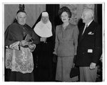 Bishop Keough, the Goelets, and Mary Matthew Doyle, RSM at the Pontifical Mass celebrating Salve Regina College's opening, 1947