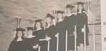 Kathy Reardon, Lolli Connerton, Kathie Burtt, Marian Mathison, Jane Brodie, Mary Ellen Woods, Gisela Chandek on O'Hare staircase at Commencement