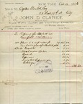 Receipt from John D. Clarke to Ogden Goelet