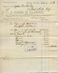 Receipt from John D. Clarke to Ogden Goelet