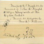 Receipt from Mrs. A. J. Williams to John D. Wright by Mrs. A. J. Williams