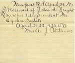 Receipt from Mrs. A. J. Williams to John D. Wright