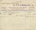 "Receipt from T. P. Crowley to Steam Yacht ""White Ladye"""