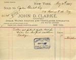 Receipt from John D. Clarke to Ogden Goelet by John D. Clarke