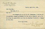 Letter from Ernest W. Bowditch to John Yale and Contract between McCusker Bros. and Ernest W. Bowditch