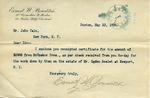 Letter from Ernest W. Bowditch to John Yale and Receipt from McCusker Bros. to Ogden Goelet